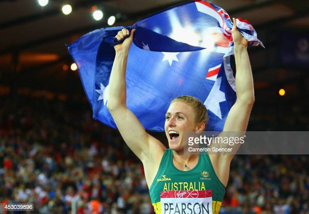 Sally Pearson of Australia celebrates winning gold in the Women's 100 metres hurdles finalat Hampden Park during day nine of the Glasgow 2014...