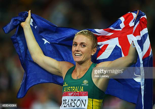 Sally Pearson of Australia celebrates winning gold in the Women's 100 metres hurdles final at Hampden Park during day nine of the Glasgow 2014...