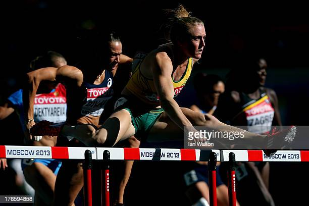 Sally Pearson of Australia competes in the Women's 100 metres hurdles heats during Day Seven of the 14th IAAF World Athletics Championships Moscow...