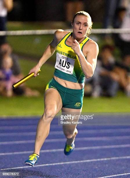 Sally Pearson of Australia competes in the Women's 4x100m Relay during the 2018 Queensland Track Classic at QSAC on March 28 2018 in Brisbane...