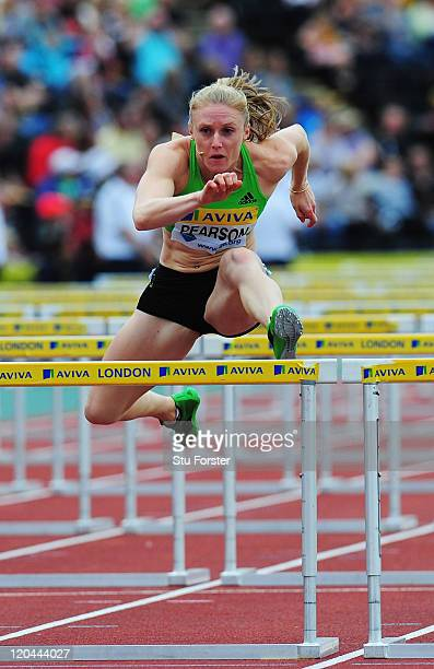 Sally Pearson of Australia competes on her way to winning the Womens 100m Hurdles during the Aviva London Grand Prix at Crystal Palace on August 6,...