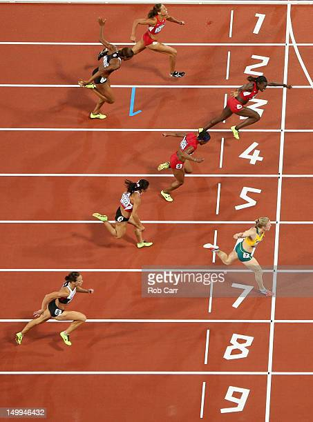 Sally Pearson of Australia crosses the finish line to win the Women's 100m Hurdles Final on Day 11 of the London 2012 Olympic Games at Olympic...