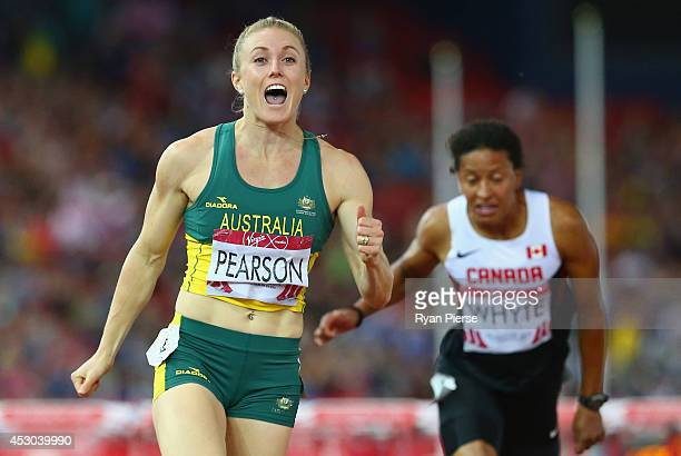 Sally Pearson of Australia crosses the line to win gold in the Women's 100 metres hurdles finalat Hampden Park during day nine of the Glasgow 2014...