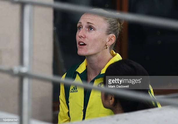 Sally Pearson of Australia leaves the stadium after competing in the women's 100 metres final during day four of the Delhi 2010 Commonwealth Games at...