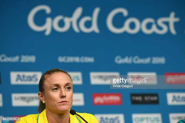 Sally Pearson of Australia looks thoughtful in a press conference as she withdraws from the the games due to injury on day one of the Gold Coast 2018...