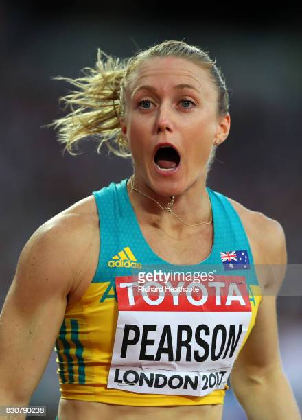 Sally Pearson of Australia reacts after competing in the Women's 100 metres hurdles final during day nine of the 16th IAAF World Athletics...