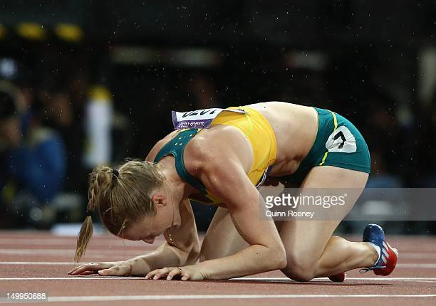 Sally Pearson of Australia reacts after winning the gold medal in the Women's 100m Hurdles Final on Day 11 of the London 2012 Olympic Games at...