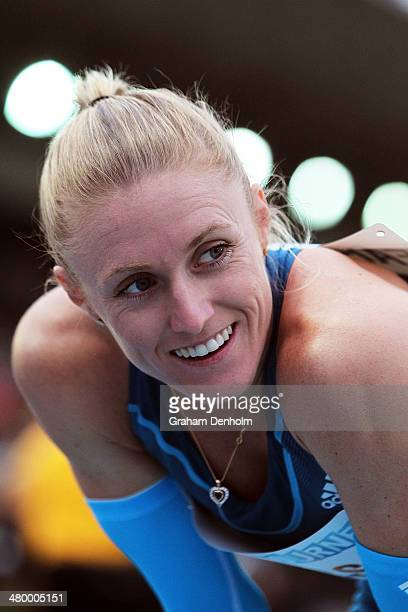 Sally Pearson of Australia smiles following victory in the Women's 100 metres Open during the IAAF Melbourne World Challenge at Olympic Park on March...