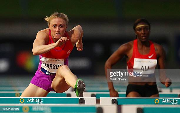 Sally Pearson of Queensland competes in the Womens 100 metres Hurdles during the Sydney track Classic at Sydney Olympic Park Athletic Centre on...