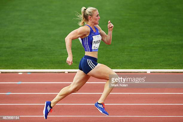 Sally Pearson of Queensland runs in the womens 200 metres during the 2015 Canberra Track Classic on February 7 2015 in Canberra Australia