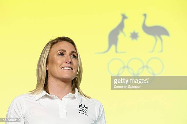 Sally Pearson poses during an Australian Olympic press conference at Museum of Contemporary Art on August 5 2015 in Sydney Australia