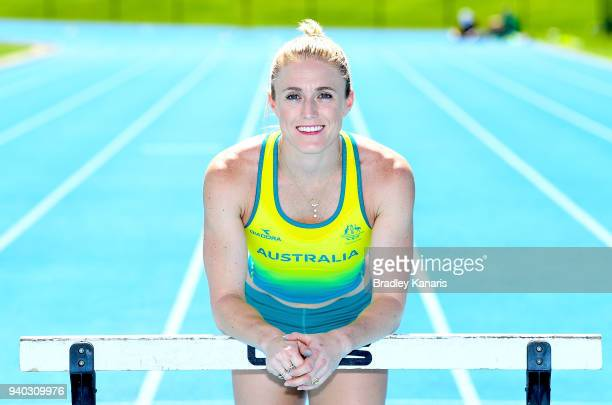 Sally Pearson poses for a photo as the Australian Athletics team continue preparations at Nudgee College Athletics ahead of the 2018 Gold Coast...