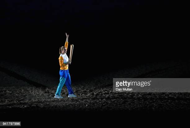 Sally Pearson showcases The Queen's Baton during the Opening Ceremony for the Gold Coast 2018 Commonwealth Games at Carrara Stadium on April 4 2018...