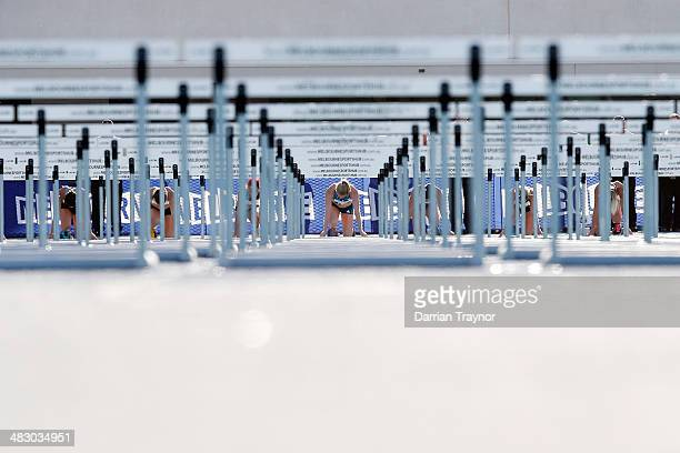 Sally Pearson takes her starting position in the women's100m hurdles during the 92nd Australian Athletics Championships on April 6 2014 in Melbourne...