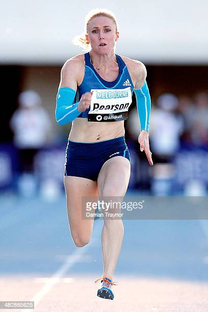 Sally Pearson wins the 100m final during the 92nd Australian Athletics Championships at Olympic Park on April 3 2014 in Melbourne Australia