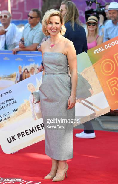 """Sally Phillips attends the """"Off The Rails"""" World Premiere at Odeon Luxe Leicester Square on July 22, 2021 in London, England."""