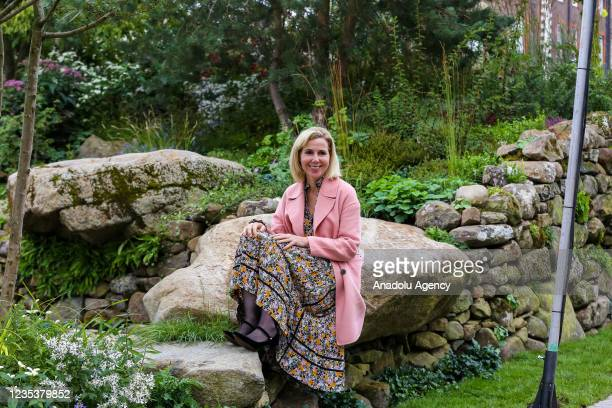 Sally Phillips poses for a photograph during press day for the RHS Chelsea Flower Show, a garden show held by the Royal Horticultural Society in the...