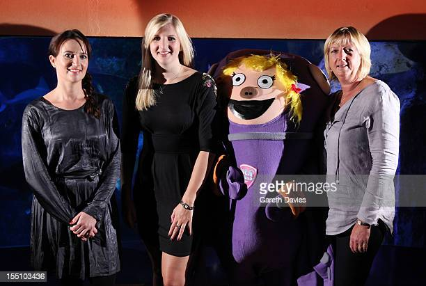 Sally Polak from Speedo Rebecca Adlington and Kay Adlington attend a photocall to launch Speedo 'S Factor' competition at London Aquarium on November...