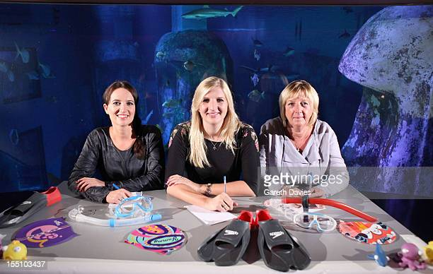 Sally Polak from Speedo Rebecca Adlington and Kay Adlington Rebecca attend a photocall to launch Speedo 'S Factor' competition at London Aquarium on...
