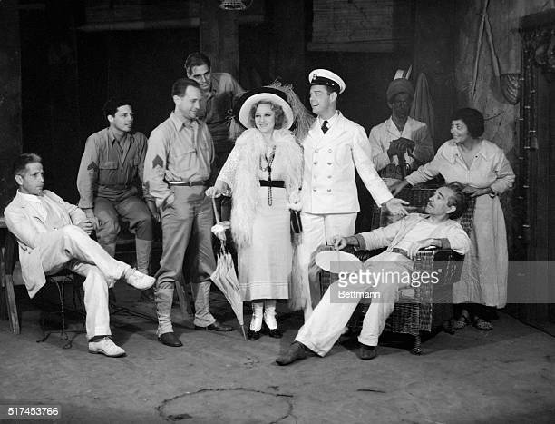 Sally Rand and the company of distinguished Broadway actors with whom she is appearing in Rain at the Lakewood Theater in Skowhegan Maine Miss Rand...