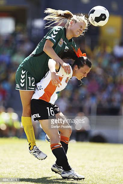 Sally Rojahn of Canberra United and Hayley Raso of Brisbane Roar contest possession during the round four W-League match between Canberra United and...