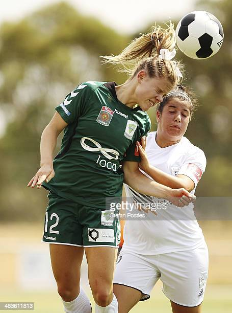 Sally Rojahn of Canberra United controls a high ball during the round nine W-League match between Canberra United and Adelaide United at McKellar...