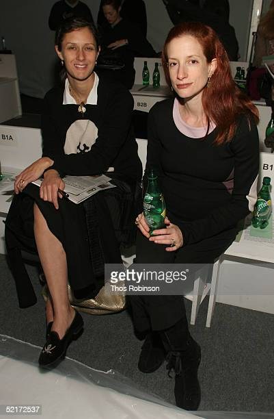 Sally Singer editor at Vogue and Vanessa Friedman editor at Financial Times attend the Jeffrey Chow Fall 2005 fashion show during the Olympus Fashion...
