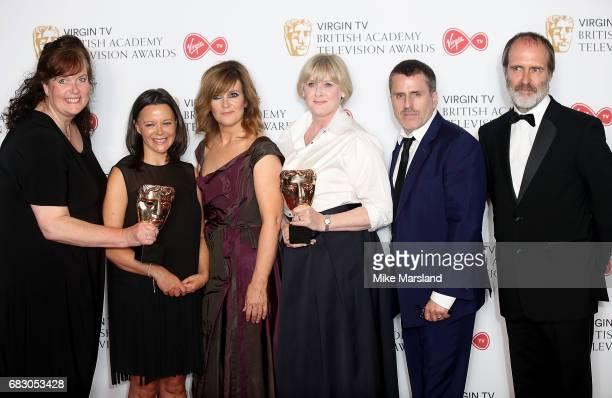 Sally Wainwright, Nicola Shindler, Siobhan Finneran, Sarah Lancashire, Con O'Neill and Kevin Doyle, winners of the Drama Series award for 'Happy...