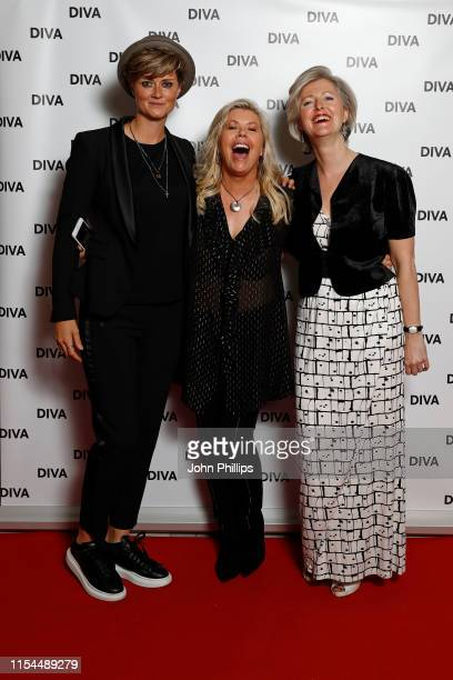 Sally Walton Jacqui Lawrence and guest attend the Diva Awards 2019 at The Waldorf Hilton Hotel on June 07 2019 in London England
