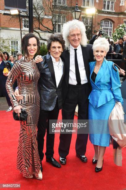 Sally Wood Ronnie Wood Brian May and Anita Dobson attend The Olivier Awards with Mastercard at Royal Albert Hall on April 8 2018 in London England