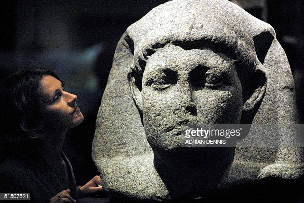 SallyAnn Ashton admires one of the statues of Cleopatra at the launch of a new exhibition at The British Museum in London 10 April 2001 Ashton a...