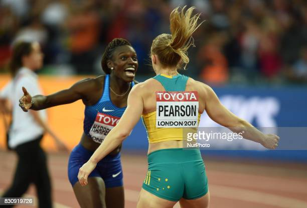 Sally Pearson of Australia and Dawn Harper Nelsonof USA celebrating in the 100 meter hurdles final in London at the 2017 IAAF World Championships...