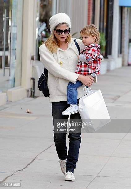 Salma Blair and son Arthur Bleick sighting on November 22, 2013 in Los Angeles, California.