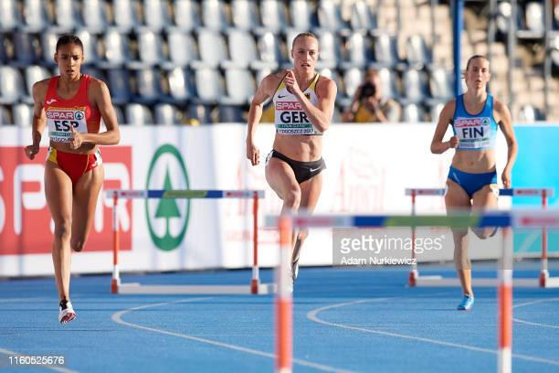 Salma Celeste Paralluelo of Spain and Jackie Baumann of Germany competes in Women's 400 meters hurdles during the European Athletics Team...