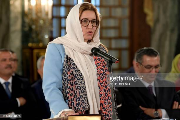 Salma Ennaifer, Tunisian State Secretary to the Ministry of Foreign Affairs, takes the oath of office during the country's new government swearing-in...