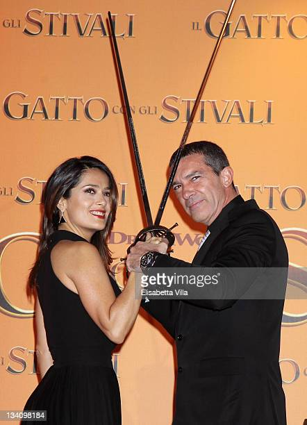 Salma Hayek and Antonio Banderas attend 'Puss In Boots' Italian premiere at the UCI Cinema on November 25 2011 in Rome Italy