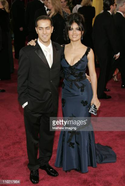 Salma Hayek and brother Sami Hayek during The 77th Annual Academy Awards ET Platform at Kodak Theatre in Los Angeles California United States