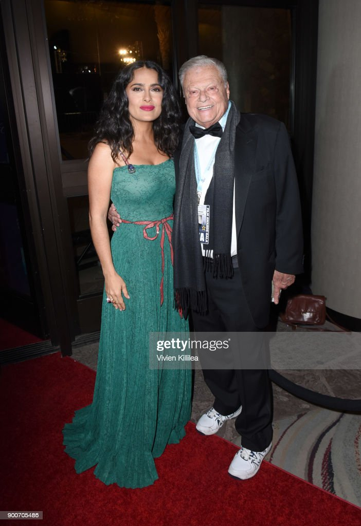 Salma Hayek and Chairman of the Palm Springs International Film Festival Harold Matzner attend the 29th Annual Palm Springs International Film Festival at Palm Springs Convention Center on January 2, 2018 in Palm Springs, California.
