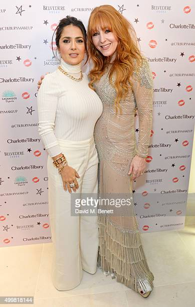 Salma Hayek and Charlotte Tilbury attend Charlotte Tilbury's naughty Christmas party celebrating the launch of Charlotte's new flagship beauty...
