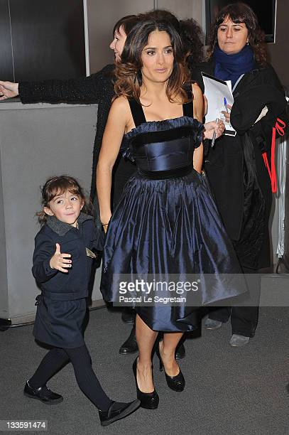 """Salma Hayek and daughter Valentina attend the """"Puss in Boots"""" Paris Premiere on November 20, 2011 in Paris, France."""
