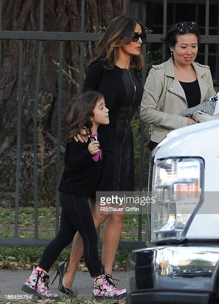 """October 31: Salma Hayek and daughter Valentina Pinault on set of """"HowTo Make Love Like an Englishman"""" on October 31, 2013 in Los Angeles, California."""