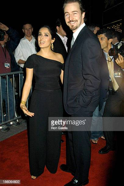Salma Hayek and Edward Norton at the 'Red Dragon' Premiere at the Ziegfeld Theater in New York City on September 30 2002