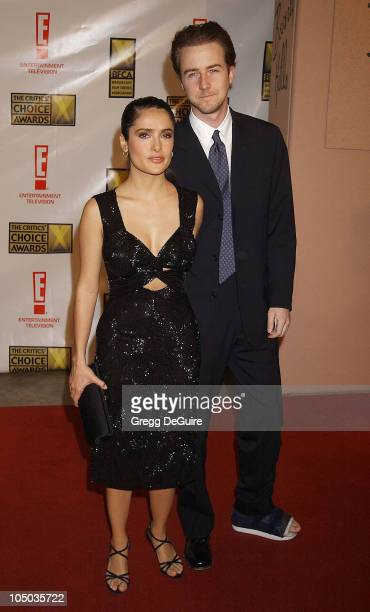 Salma Hayek and Edward Norton during The 8th Annual Critics' Choice Awards Beverly Hills at Beverly Hills Hotel in Beverly Hills California United...
