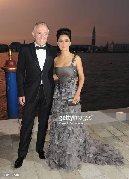 Salma Hayek and Francois Henri Pinault attend the 2011 GUCCI Award For Women In Cinema at Hotel Cipriani on September 2, 2011 in Venice, Italy.