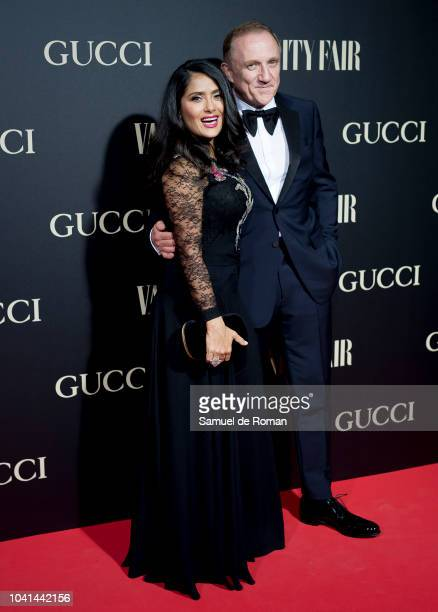 Salma Hayek and Francois Henri Pinault attend 'Vanity Fair's Personality of the Year' Awards at Royal Theatre on September 26 2018 in Madrid Spain