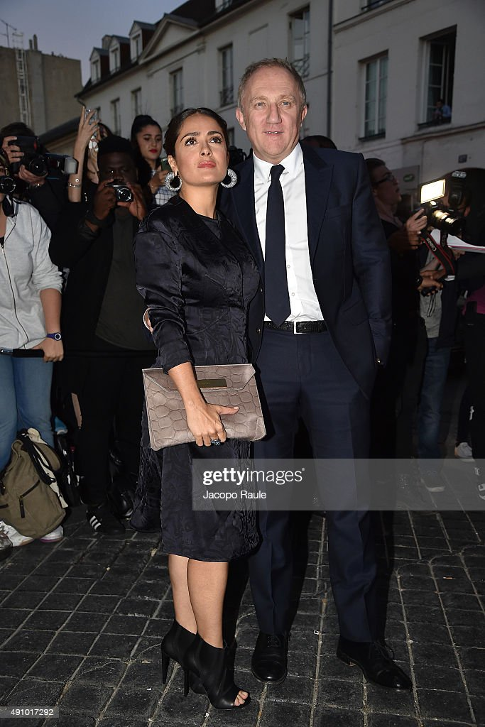 Salma Hayek and Francois-Henri Pinault are seen arriving at Balenciaga Fashion Show during Paris Fashion Week - Ready To Wear S/S 2016 : Day Four on October 2, 2015 in Paris, France.