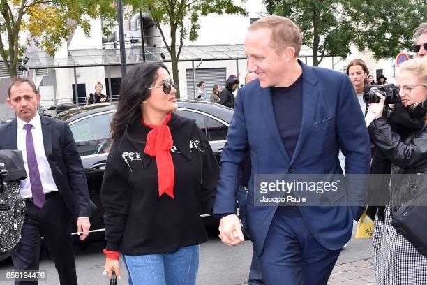 Salma Hayek and FrancoisHenri Pinault are seen arriving at Balenciaga fashion show during Paris Fashion Week Womenswear Spring/Summer 2018 on October...