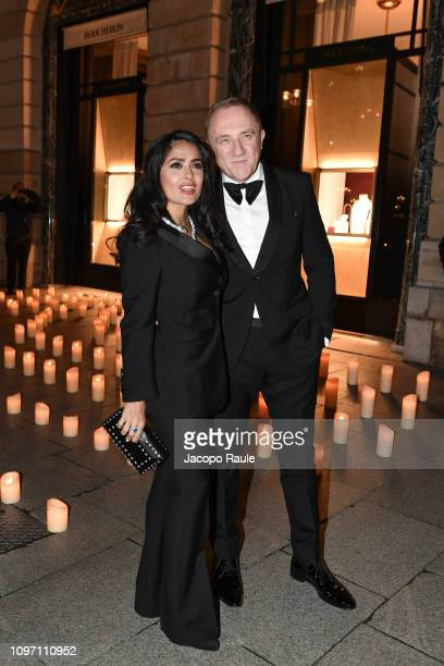 Salma Hayek and FrancoisHenri Pinault are seen arriving at Boucheron dinner on January 20 2019 in Paris France