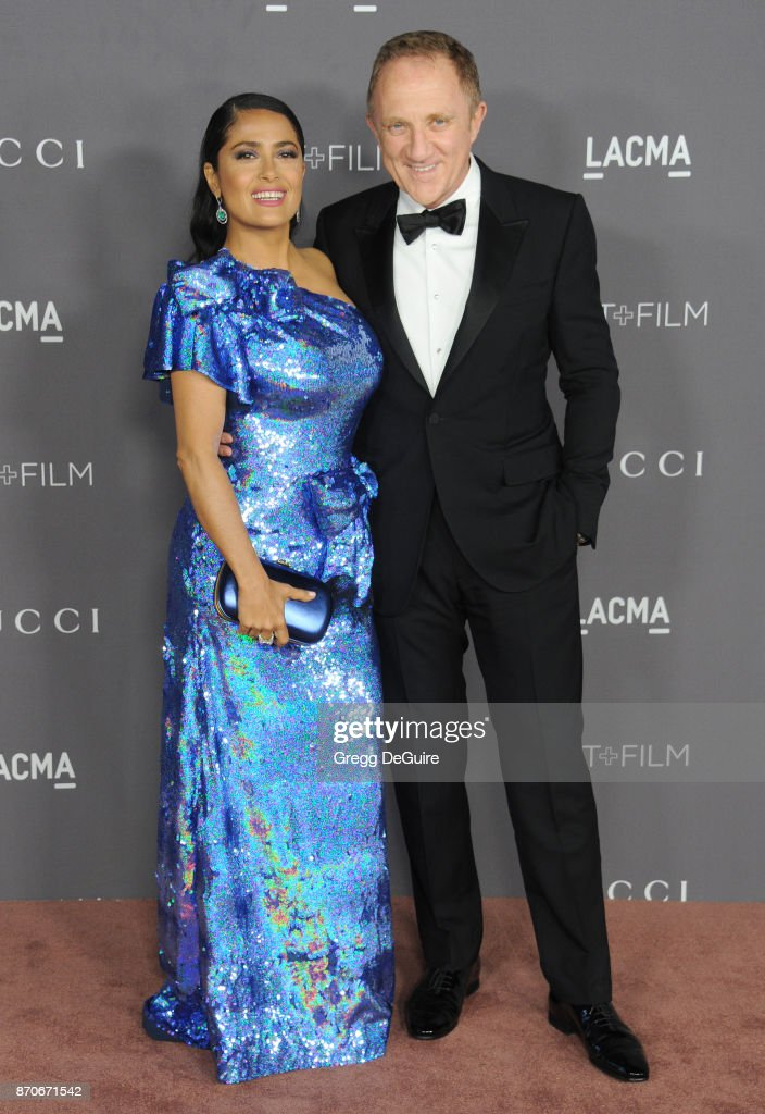 Salma Hayek and Francois-Henri Pinault arrive at the 2017 LACMA Art + Film Gala honoring Mark Bradford and George Lucas at LACMA on November 4, 2017 in Los Angeles, California.