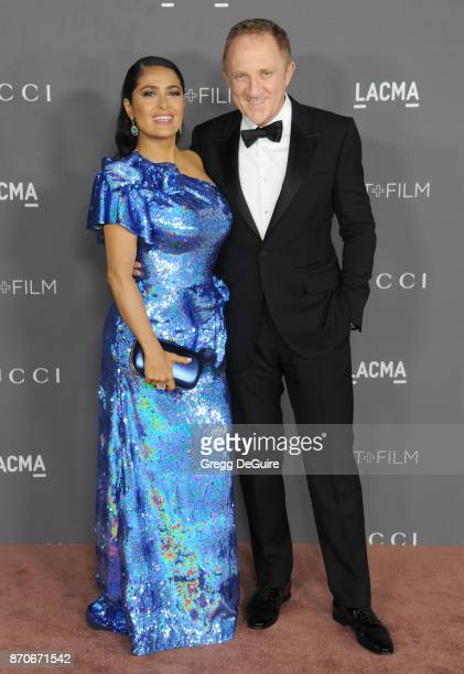 Salma Hayek and FrancoisHenri Pinault arrive at the 2017 LACMA Art Film Gala honoring Mark Bradford and George Lucas at LACMA on November 4 2017 in...